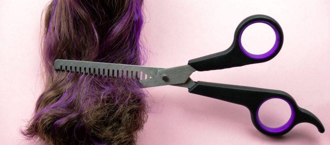 מספריים מדללים גוזרים קוקו של שיער יבש